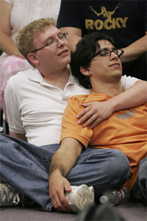 A young couple listens during a group support session at Youth First Texas, a nonprofit in Oak Lawn that provides services to gay, bisexual and transgendered youths.