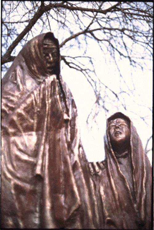 A sculpture on the grounds of Dallas Theological Seminary depicts the women who found Jesus' empty tomb.