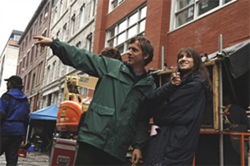 Todd Haynes with Charlotte Gainsbourg on the set of I'm Not There