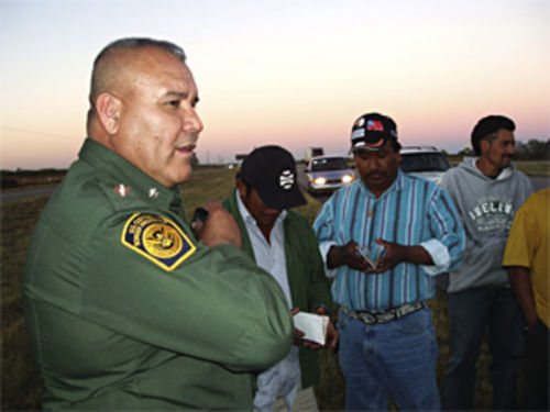 Diaz checks immigrants' documents on Interstate 35 north of Laredo.