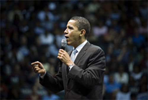 Barack Obama speaks to a full house at Reunion Arena in February.