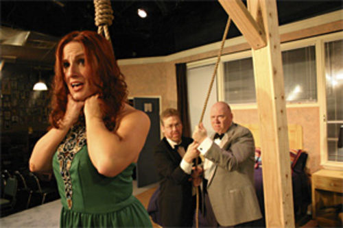Trista Wyly gets in comically knotty situations (with Erik Knapp and David H.M. Lambert) in Pocket Sandwich Theatre's Murder at the Howard Johnson's.