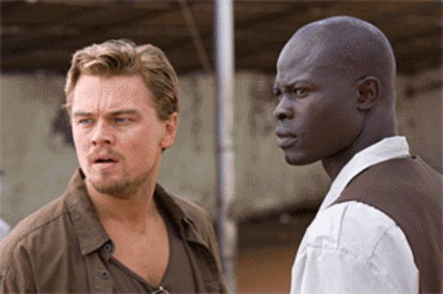 Generic white mercenary meets generic black good guy in Blood Diamond, starring Leonardo DiCaprio and Djimon Hounsou.