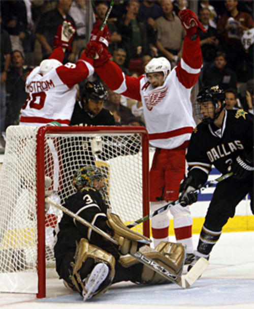 While the Stars needed goalie Marty Turco to stand on his head, the Red Wings have constantly knocked him off his feet.