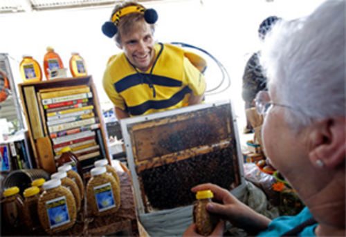 Brandon Pollard spreads the word about bees.