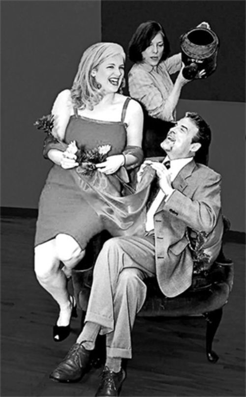 In Theatre Three's dueling farces, House and Garden, Emily Gray, Kerry Cole (center) and J. Brent Alford swap beds and barbs.
