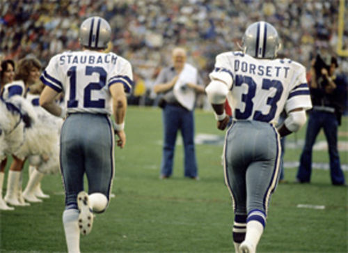 Former Cowboy greats Roger Staubach and Tony Dorsett wore numbers that will always be associated with them.