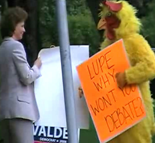The Republican Party paraded a man in a chicken costume outside a Valdez fund-raiser, infusing life into an otherwise boring campaign.