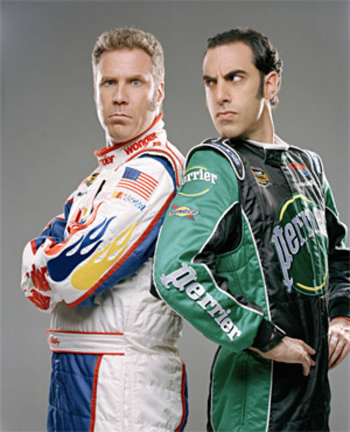 Will Ferrell and Sascha Baron Cohen doing the Ricky Bobby.