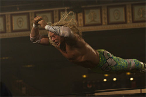 A washed-up star shines as a washed-up star: Mickey Rourke pins the lead in The Wrestler.