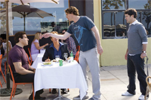 OK, so which one is the girl? Jason Segel (center) rises to the defense of his man-friend, Paul Rudd.