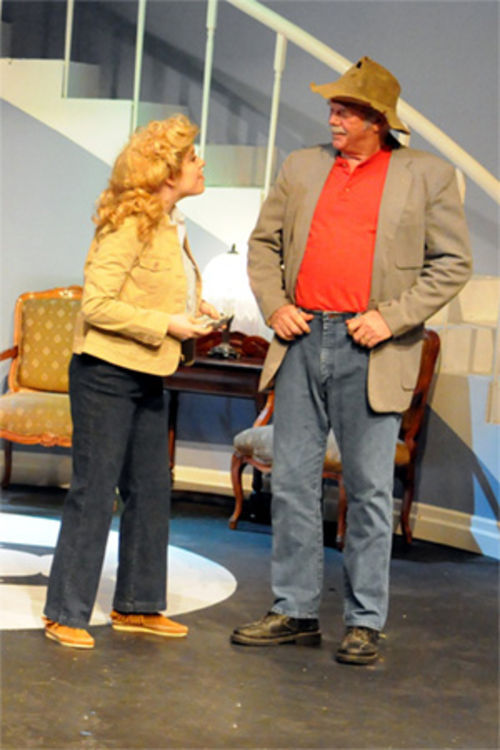 Wee doggies! If it ain't right purty Arielle Engle as Elly May Clampett and Dan Tillman as her Uncle Jed in Garland Civic Theatre's Beverly Hillbillies.