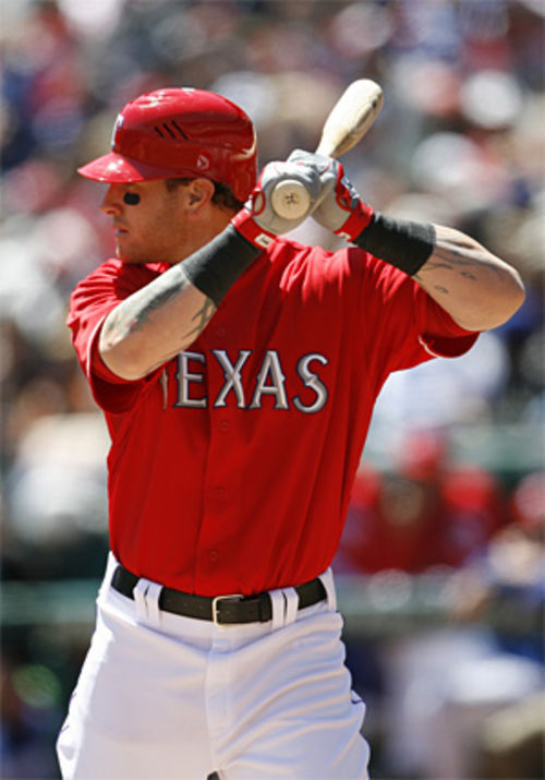 Josh Hamilton began Opening Day by catching the ceremonial pitch from George W. Bush and then went 2-for-5 at bat.