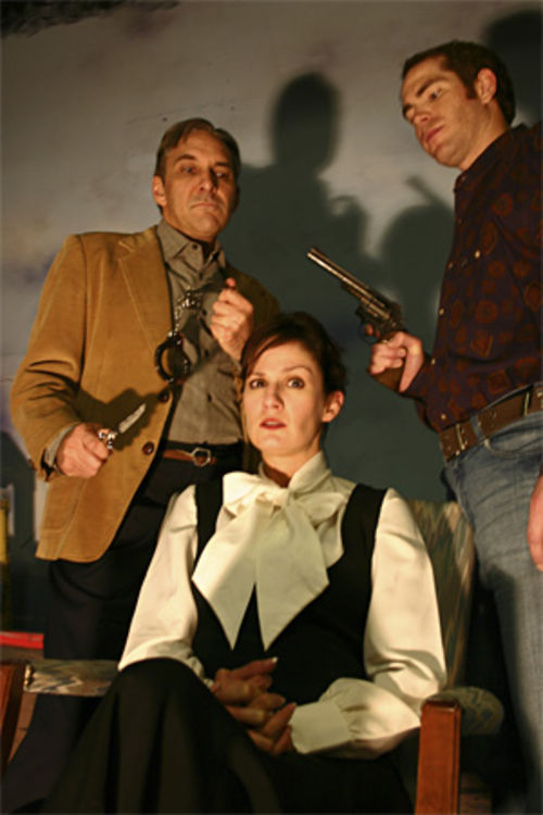 Deathtrap for cutie Trista Wyly, between Dennis Millegan  (left) and Beau Trujillo