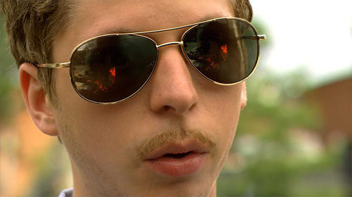 Nothing says bad boy like Michael Cera's wicked 'stache.