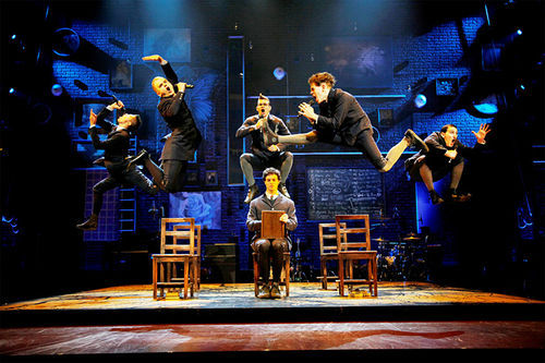 Leapin' lieder! The cast of the Broadway tour of Spring Awakening takes flight with Bill T. Jones' soaring, stomping choreography.