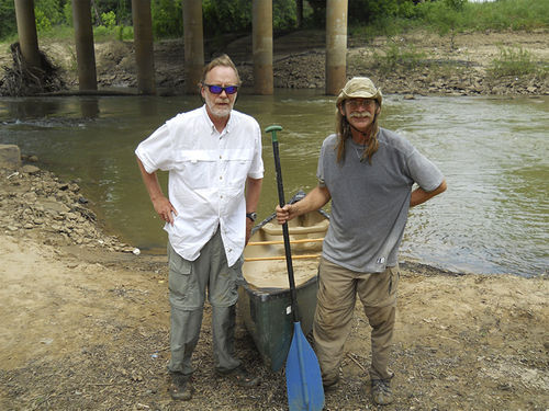 Schutze and Charles Allen beneath the bridge at Loop 12 (Ledbetter), at the end of their Trinity River journey.