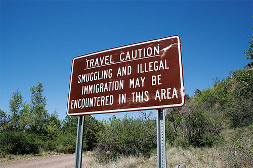 This ominous government sign is on U.S. Forest Service land in the Coronado National Forest, near the sprawling Krentz Ranch north of Douglas, Arizona.