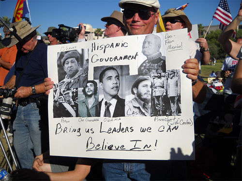 SB 1070 supporters compare Barack Obama to Latino revolutionaries at a nativist rally.