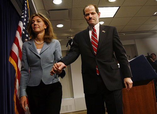 Eliot Spitzer's walk of shame.