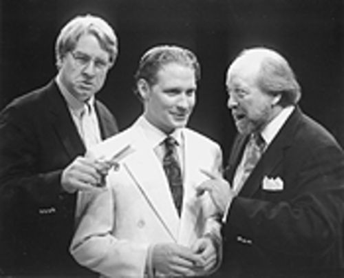 From left, R. Bruce Elliott, Ashley Wood, and Mark Waltz are stage artists struggling to finish a play on an ocean liner in Stoppard's genial confection.