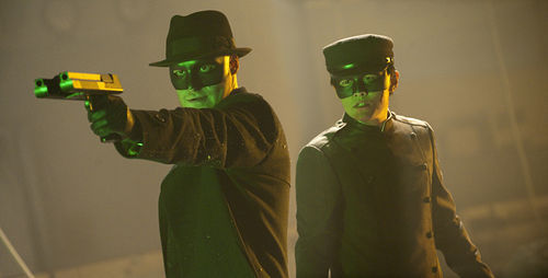 Seth Rogen (left) plays the Green Hornet... and not too neatly.
