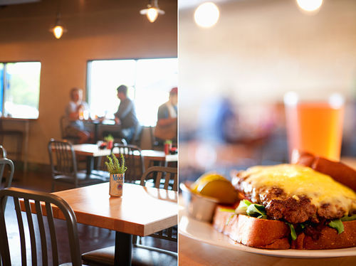 Company Cafe's clean chic space,  the perfect spot for enjoying the Belmont Burger.