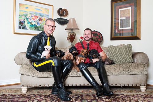 "Eagle co-owner Jeffrey Payne (left) at home with his husband, David Roy. The Dallas leather community, Payne says, ""is my family."""