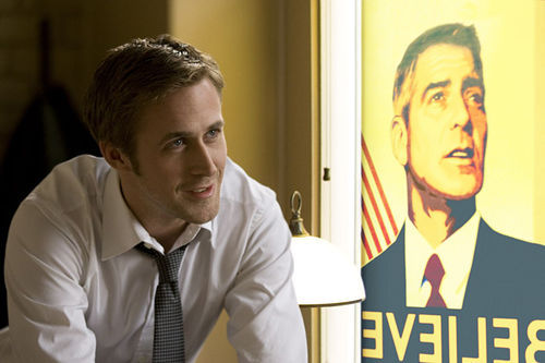Ryan Gosling, playing an aide to candidate George Clooney, has his heart crushed by politics. Welcome to the world, pal.