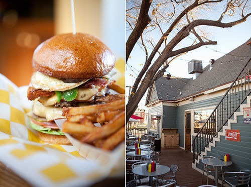 A burger with fried egg, bacon and peppers, and the house it lives in. Photos to scale.