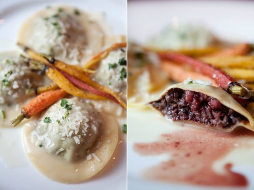 Butter-soaked ravioli may look tame, but house-made blood sausage lurks inside.