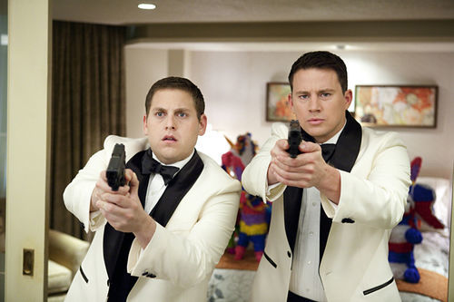 Jonah Hill and Channing Tatum, dressed and armed for the modern prom.