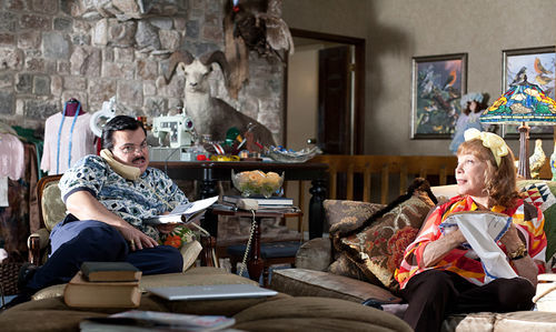 Jack Black and Shirley MacLaine as Bernie Tiede and his sugar mama, Majorie Nugent