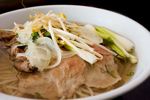 Beef pho was afflicted with pallid beef.