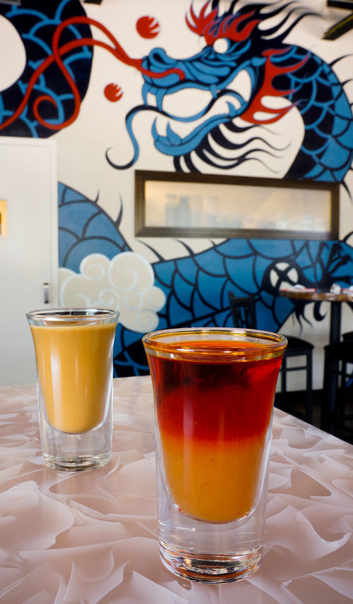 The Vietnamese Dafé Latte and Tiger Blood shots added plenty of color.