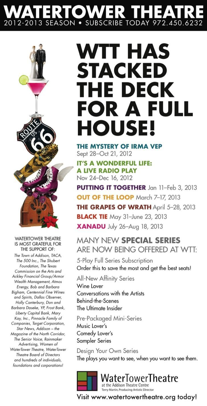 WaterTower Theatre's 2012-2013 Season!