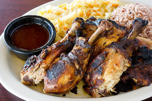 Island Spot's jerk chicken captures hints of paradise.