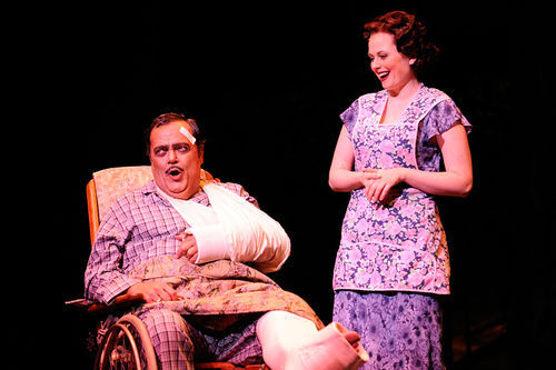 Bill Nolte, as the title role in Lyric Stage's The Most Happy Fella, spends most of the show trying to get a leg up on Rosabella, played by Amber Nicole Guest.