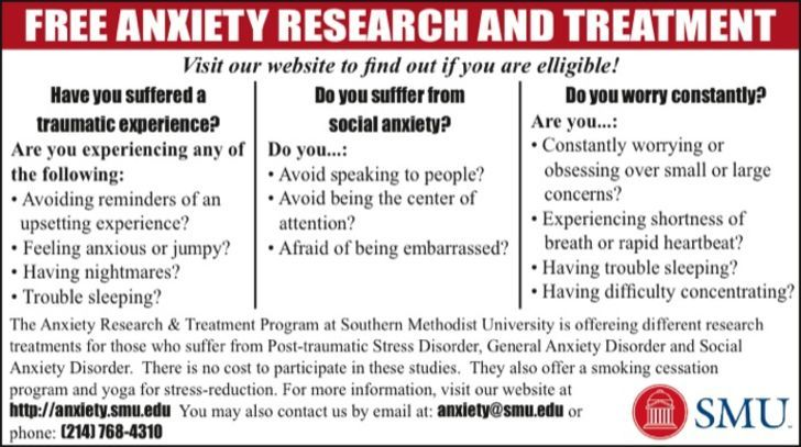 SMU - Dept of Psych / Anxiety Research