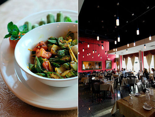 Mughlai's okra bests the typical strip-mall stuff. So does its dining room.