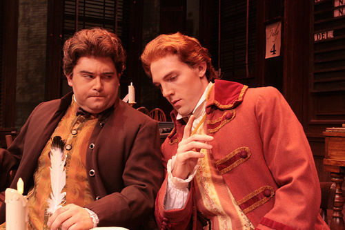 Brian Gonzales as John Adams and Bryant Martin as Thomas Jefferson have resounding success as Founding Fathers in Lyric Stage's 1776.
