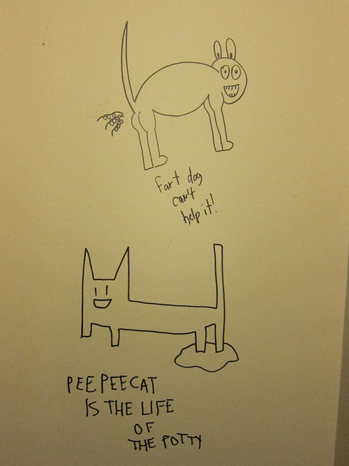 Fart Dog and Pee Pee Cat, immortalized at Rubber Gloves.