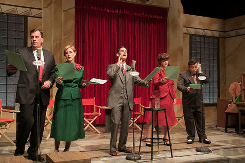 Jim Johnson, Lydia Mackay, Matthew Laurence-Moore, Jessica Cavanagh and B.J. Cleveland do all the voices in Bedford Falls in It's a Wonderful Life, radio style, at WaterTower Theatre.