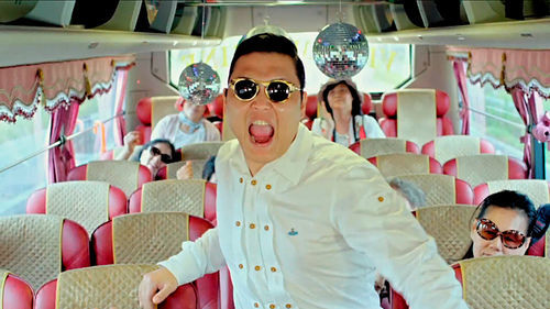 Psy screaming about horses.