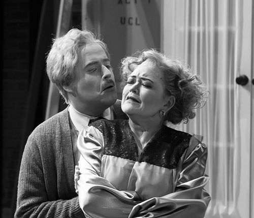 Art Kedzierski and Lulu Ward give colorful performances in Pegasus Theatre's all-black-and-white XSR: Die! (This, by the way, is a color photo.)