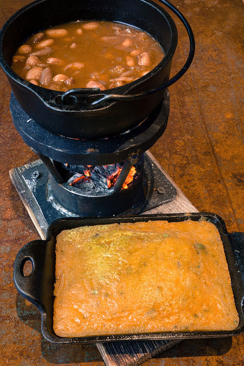Spicy ranchero beans and cornbread.