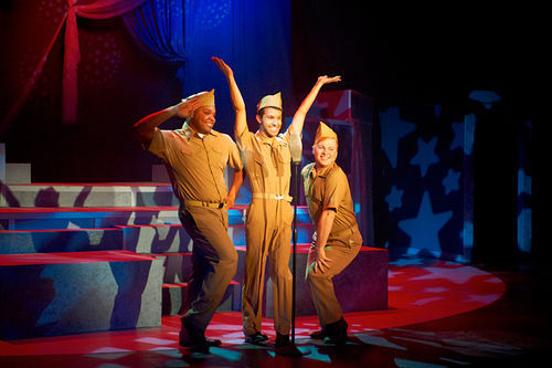 "Uniformly cute: Calvin Roberts, Angel Velasco and Ashton Shawver harmonize on ""Boogie Woogie Bugle Boy"" in the gender-flipping Broadway Our Way."