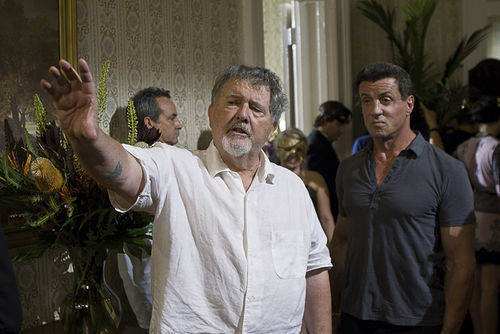 Walter Hill and Sylvester Stallone on the set of Bullet to the Head.