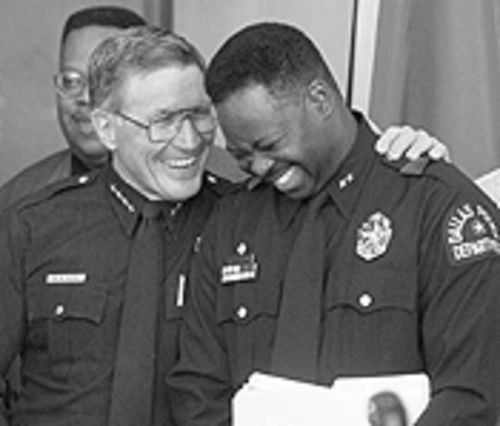 Former Dallas police Chief Ben Click and his successor Terrell Bolton in happier days