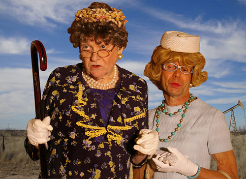 Larry Randolph as Aunt Pearl and Dwight Sandel as Vera Carp, two of the 20 characters they play in Greater Tuna at the Bath House.